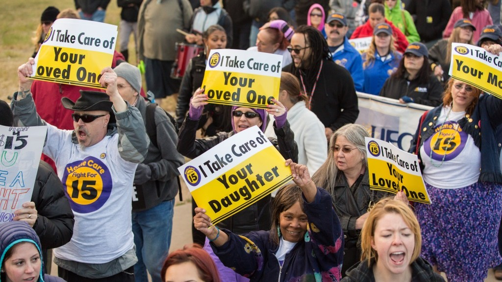 Home care workers marching on April 15