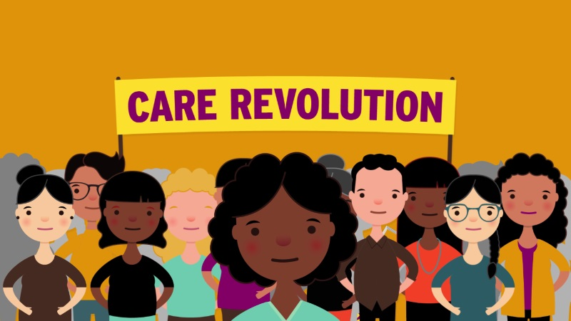 Cartoon home care workers with the Care Revolution banner